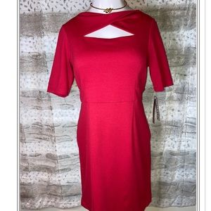 Dana Buchman Red Ponte Dress Size 14 NWT!